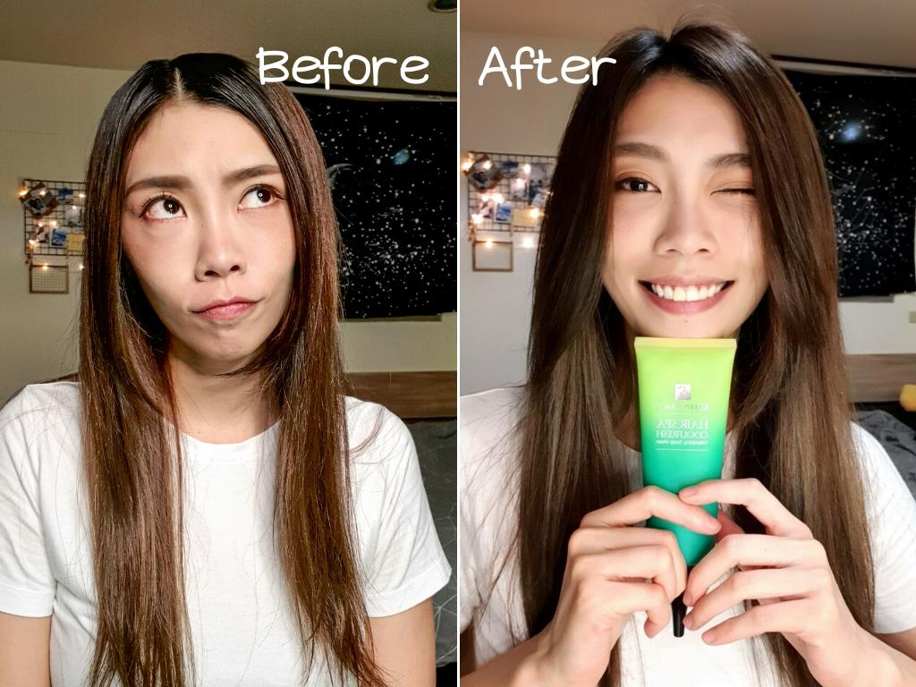 妍霓絲髮根豐盈沁涼頭皮敷膜 使用前後對比
